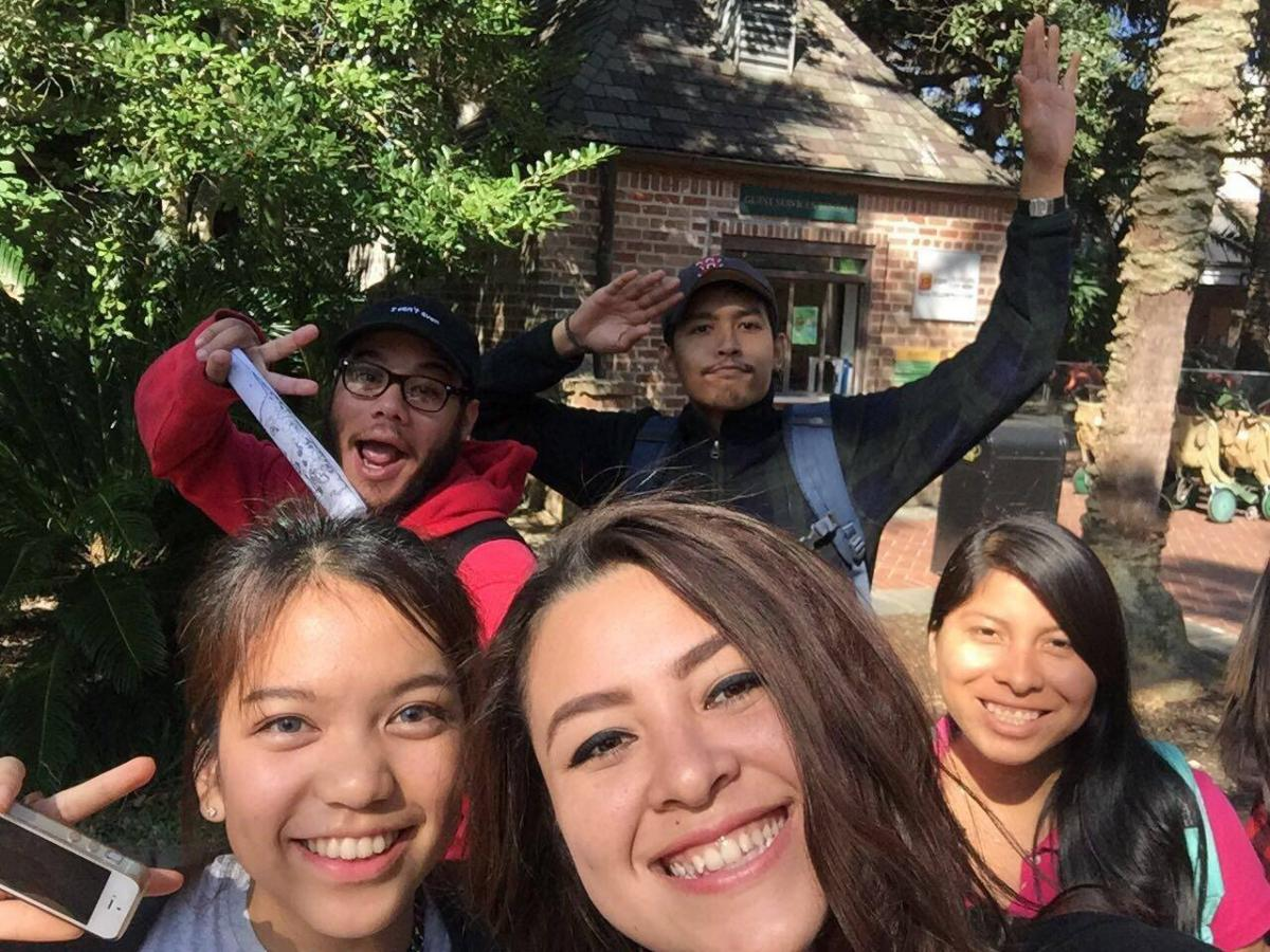 Students taking a selfie at the Zoo