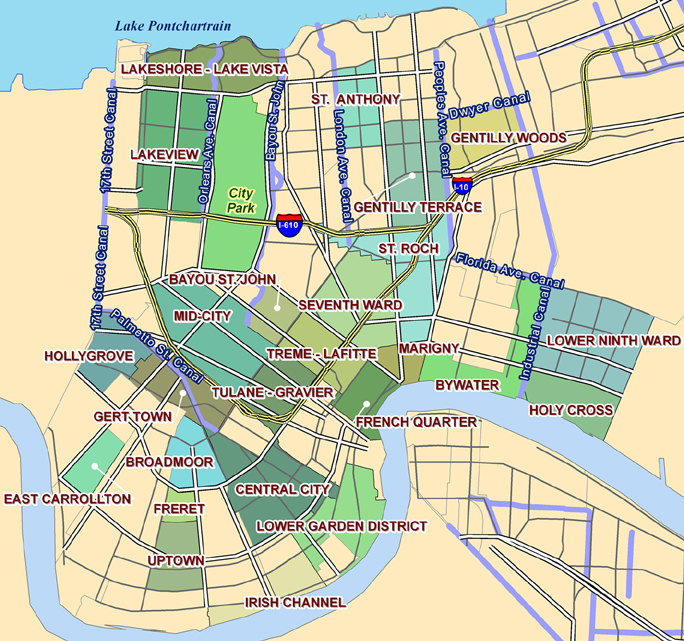 New Orleans Neighborhoods Map Neighborhood Map | The University of New Orleans