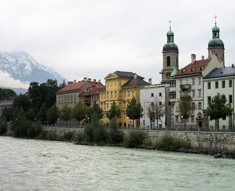 Houses on river in Austria