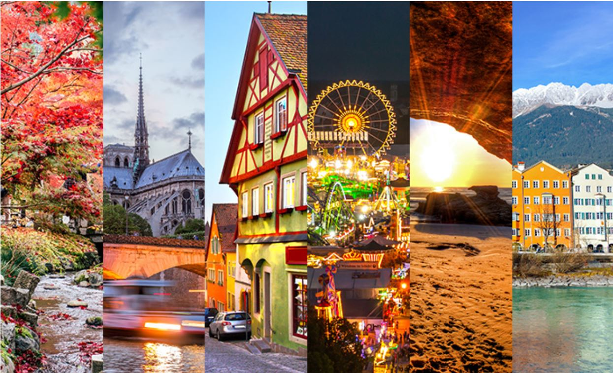 Scenic photos from five different countries