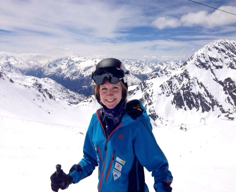 Student skiing in the Alps