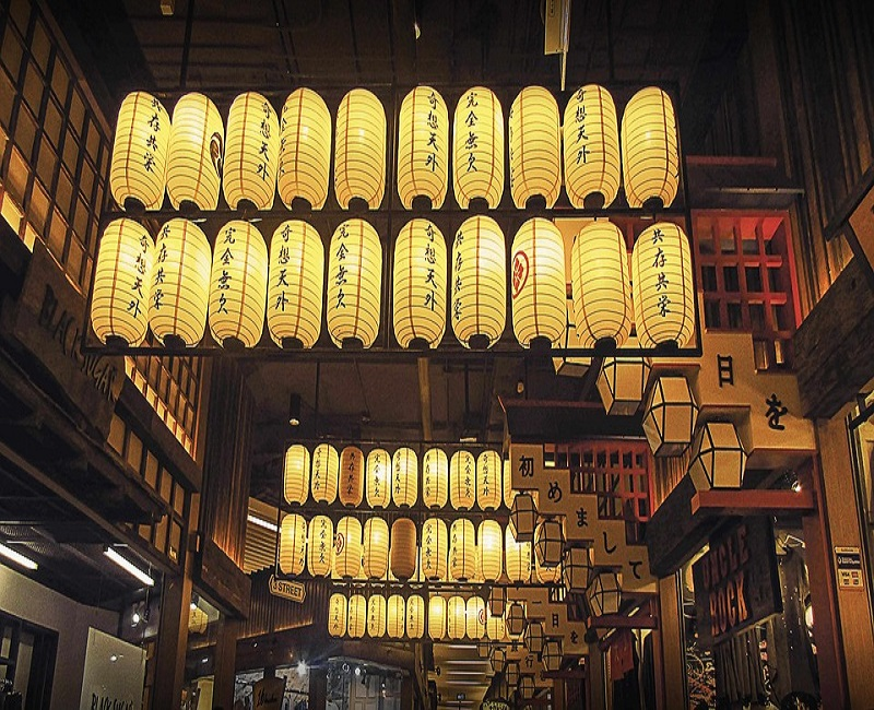 Japanese lanterns hanging from the ceiling