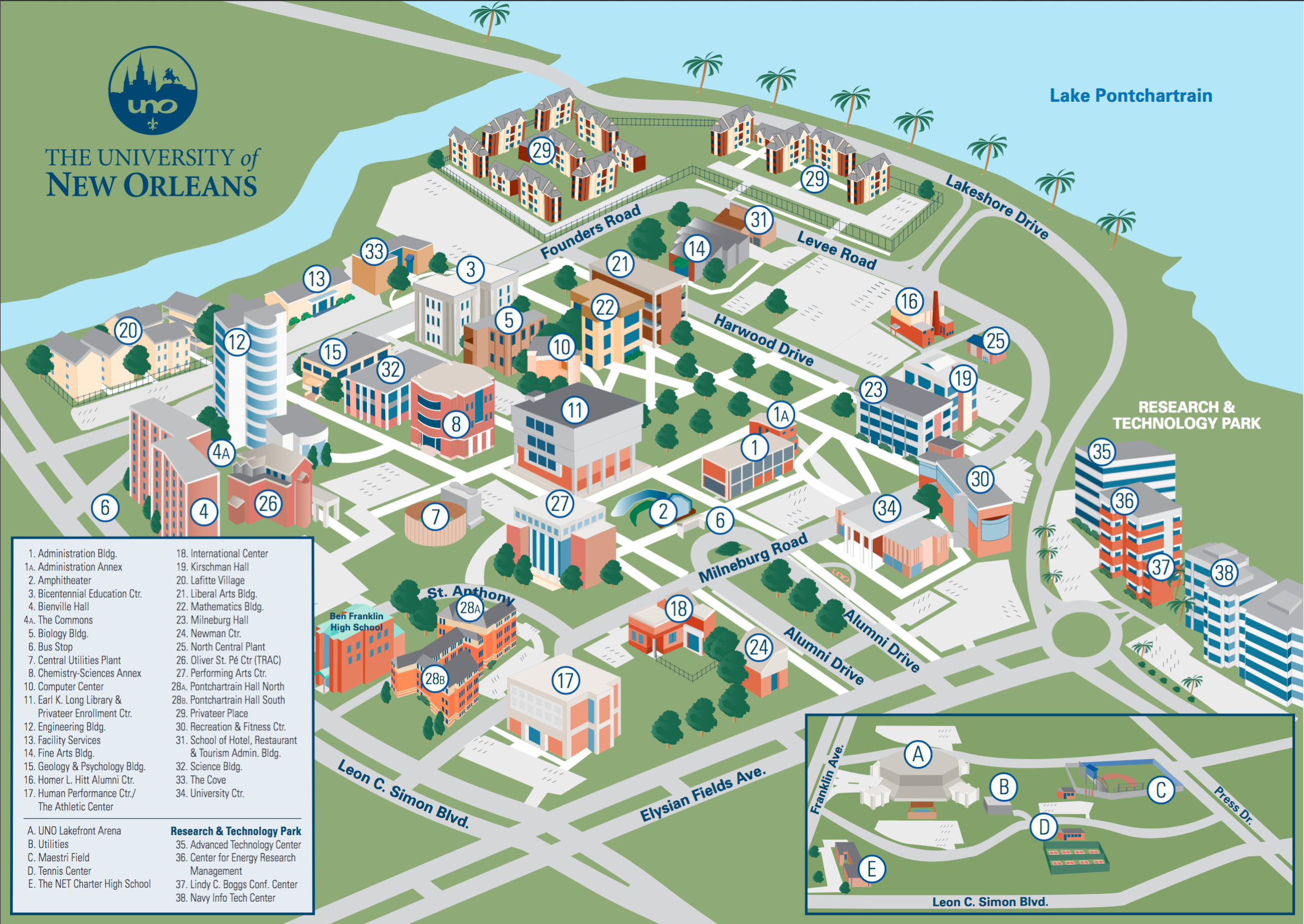 Campus Map   The University of New Orleans