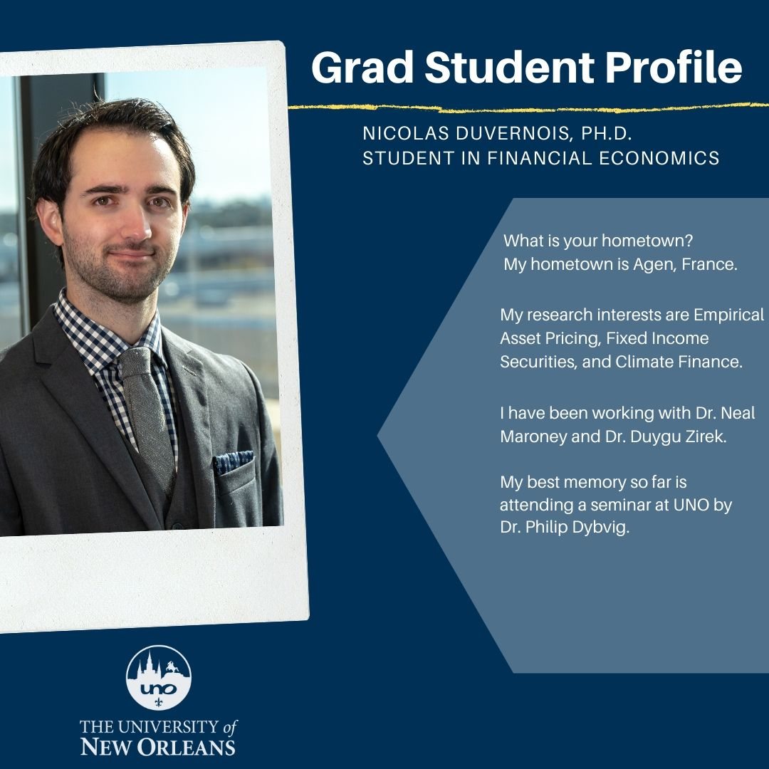 Meet a Grad Student:  Nicolas Duvernois, Ph.D. Financial Economics
