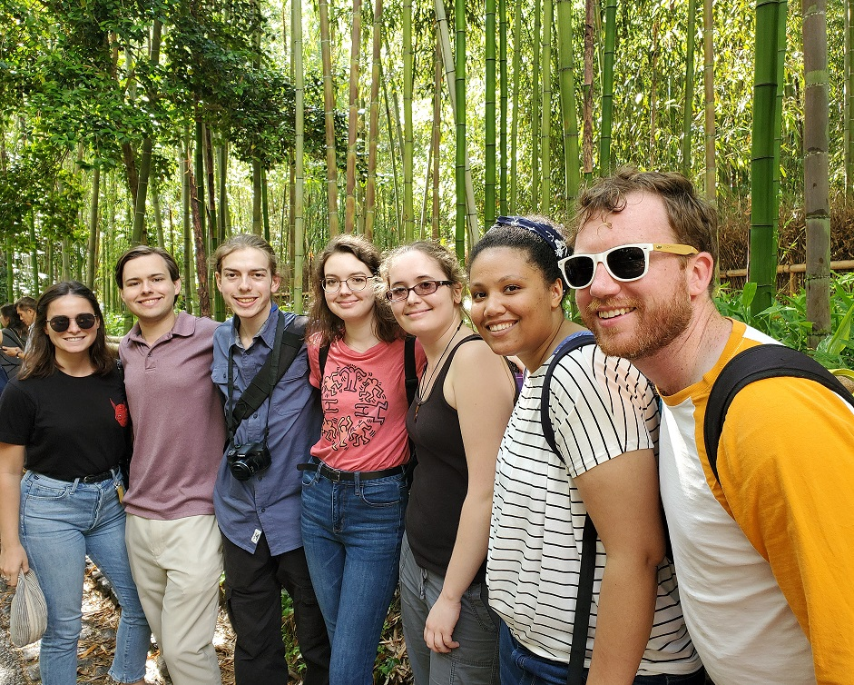 Students at Arashiyama Bamboo Forest