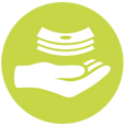 Hand and money icon