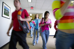 Student rushing in hallway
