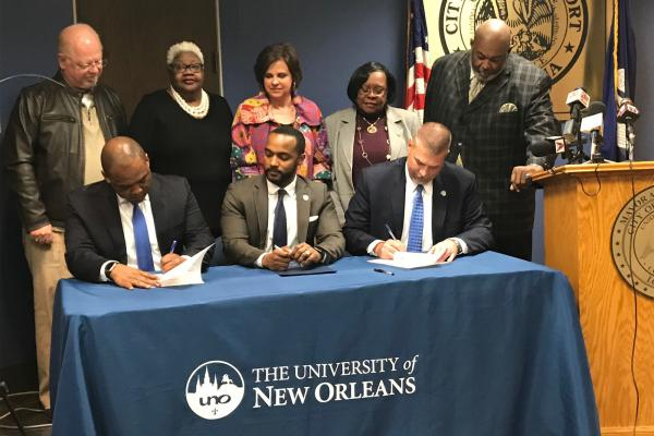 University of New Orleans and Caddo Parish Instant Admit signing