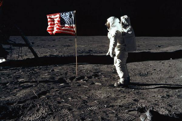 NASA photo of 1969 moonwalk