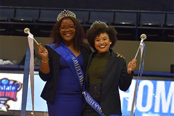 UNO's homecoming royalty, Queens LaMaría Phillips (left) and Amber Lemelle were recognized during halftime of the Privateers basketball season opener on Nov.5.