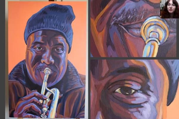 "University of New Orleans student Ash Gaude was awarded first place for her painting ""French Quarter Musician"" during InnovateUNO 2020, which was held virtually this year."