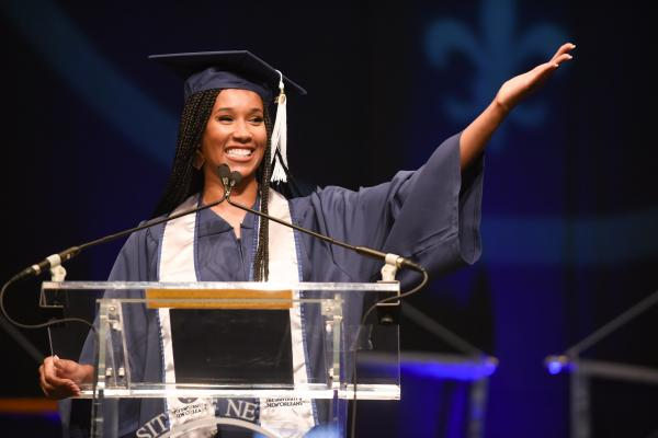 University of New Orleans alumna Sheba Turk, co-anchor of WWL-TV's Eyewitness Morning News, was the keynote commencement speaker.