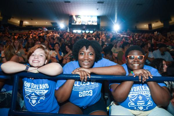 The Class of 2023 was welcomed to the University of New Orleans during a new student convocation held at Lakefront Arena.