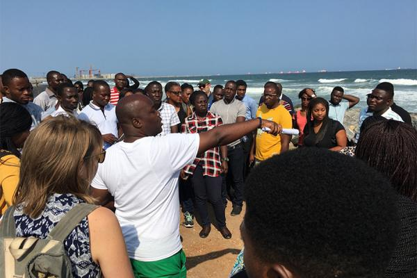 University of New Orleans researchers Ebenezer Nyadjro and Madeline Foster-Martinez spent a week along the Gulf of Guinea teaching coastal environmental concepts to graduate and undergraduate students in Ghana.