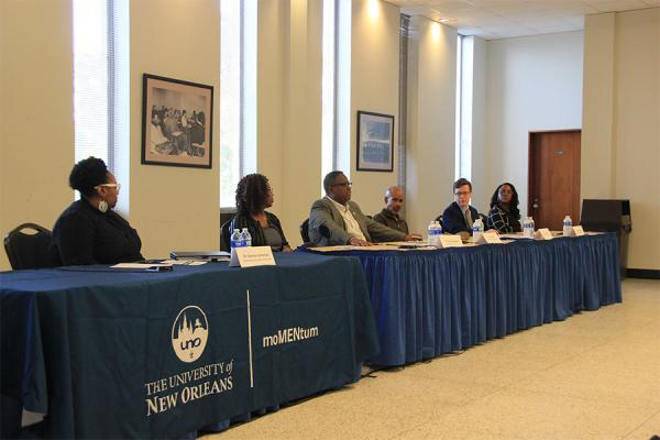 A panelist of mental health professionals discuss 'Mental Health in the Black Community' during a forum at the University of New Orleans sponsored by the campus organization, moMENtum.