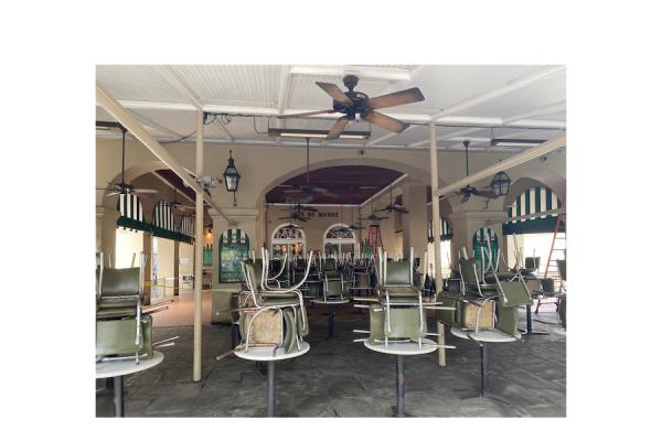 Café Du Monde, usually bustling with customers, sits empty after Louisiana lawmakers prohibited sit-down dining at all restaurants in an attempt to slow the spread of the novel coronavirus. (Photo courtesy Greg Lambousy)