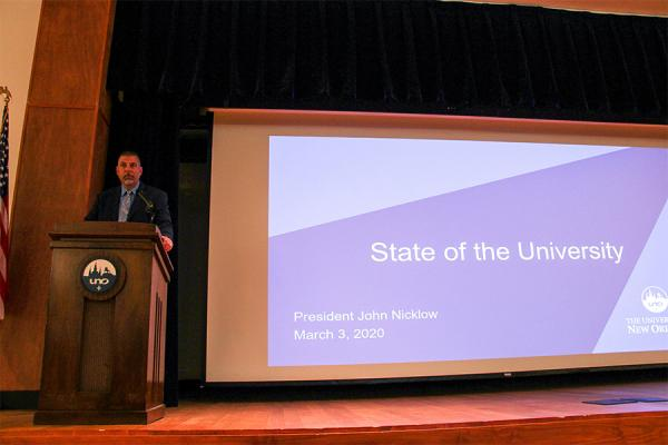 President Nicklow speaks during his biannual State of the University address before University of New Orleans faculty and staff.