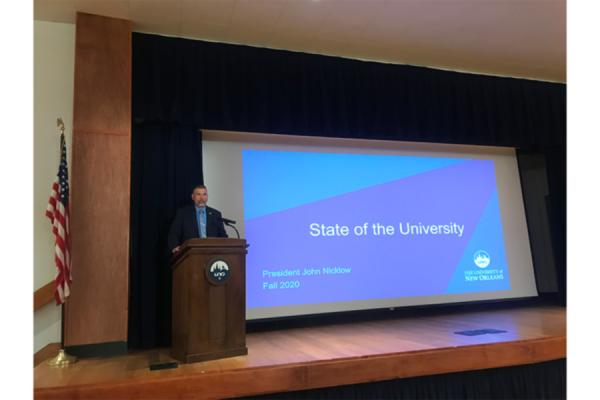 President John Nicklow gives his state of the University address for fall 2020.
