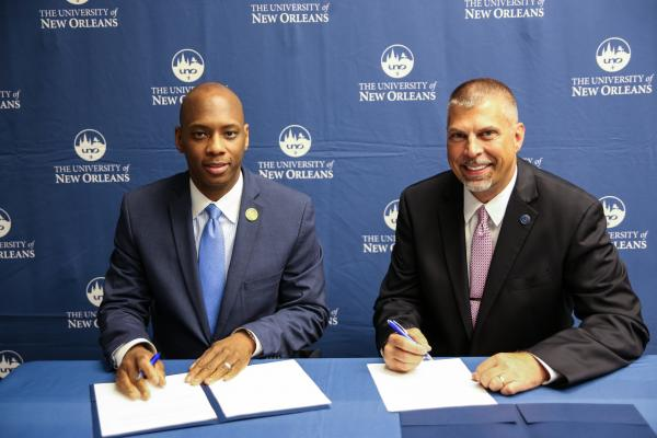 Orleans Parish Schools Superintendent Henderson Lewis (left) and UNO President John Nicklow