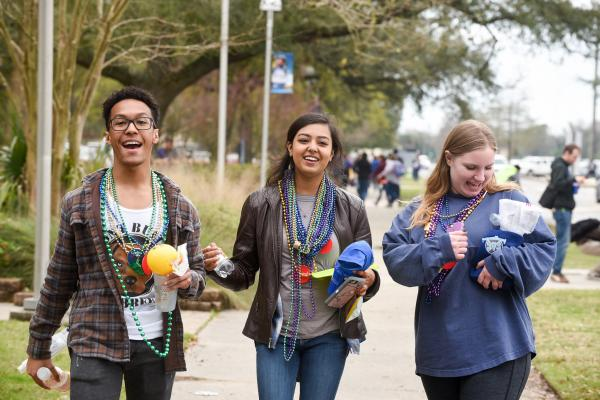 The Krewe of UNO rolled through campus on Tuesday with plenty of Mardi Gras beads and trinkets.