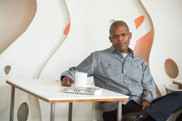 Novelist Maurice Ruffin at The Orange Couch coffee house in New Orleans