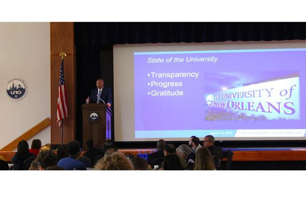 President John Nicklow speaks to University of New Orleans faculty and staff during his biannual state of the university address on Tuesday, March 19.