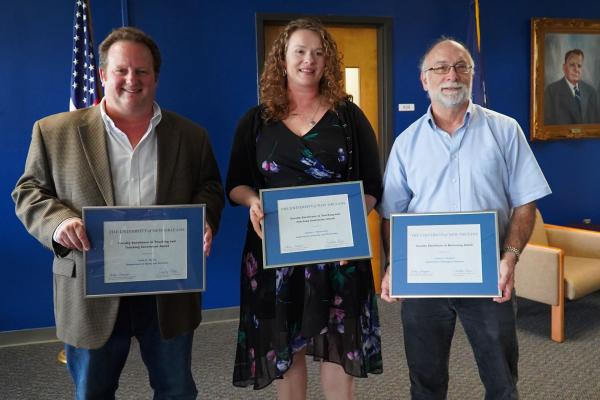 The recipients of the Faculty Excellence Awards were l-r: John Horne, professor of professional practice; Andrea Mosterman, associate professor of history and Jerome Howard, associate professor of biology.