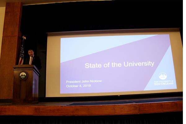President Nicklow speaks during his biannual State of the University address before University of New Orleans faculty and staff Friday, Oct. 4, 2019.