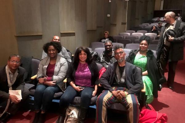 Artist Dread Scott (far right) discussed his re-enactment of the 1811 Slave Rebellion, which has drawn international media attention, during a Nov. 13 forum at the University of New Orleans.