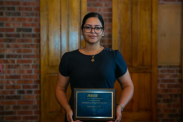 University of New Orleans alumna Yelena Rivera was recognized as Louisiana's Outstanding Young Civil Engineer by the American Society of Civil Engineers.
