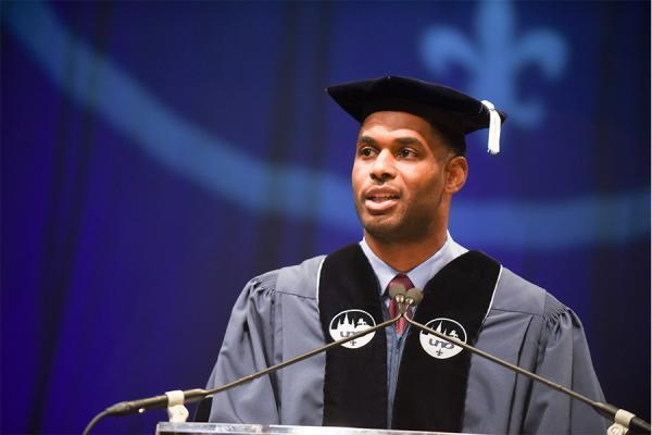 Entrepreneur and former New Orleans Saints star receiver Marques Colston was the commencement speaker at the University of New Orleans on Friday, Dec. 13, 2019.