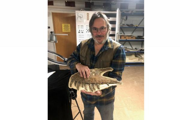 UNO alumnus David Burnham, a paleontologist with the University of Kansas Biodiversity Institute and Natural History Museum, holds the upper jaw of a juvenile T. rex found in 2017.