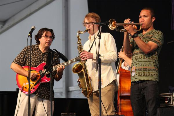 University of New Orleans jazz studies professor Steve Masakowski, pictured far left, will be honored with a lifetime achievement award.