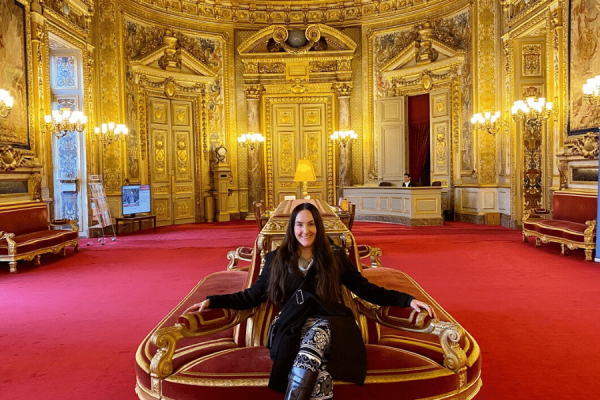 University of New Orleans graduate student Kathy Bradshaw takes a seat in the conference hall at the French Sénat in Paris.