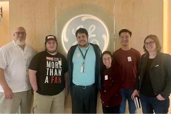 University of New Orleans computer science students visit GE. Pictured, left to right, are computer science professor Chris Summa, students Edward Barranco, Albert Lambert, Christina Bui, Kevin Ly and student success specialist Sam Hoyt.