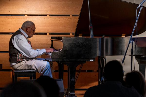 Ellis Marsalis plays at Jazz at the Sandbar at The Cove on UNO's campus on Oct. 2, 2019. Marsalis established the music series in 1990.