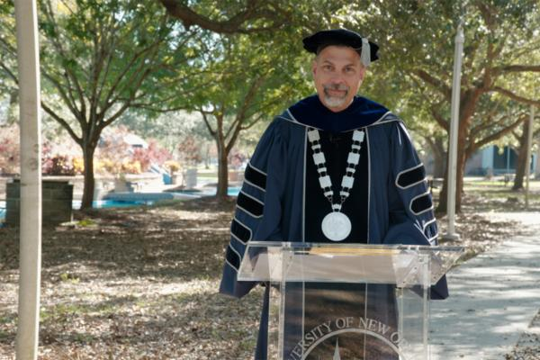 President John Nicklow addresses the class of 2020 during fall commencement ceremony presented virtually Dec. 12.