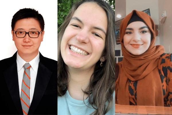 UNO students (from left) Jinjiao Wang, Olivia Pelias and Yasameen Mohsin are the 2020-2021 recipients of the Julie A. Ard Undergraduate Award.